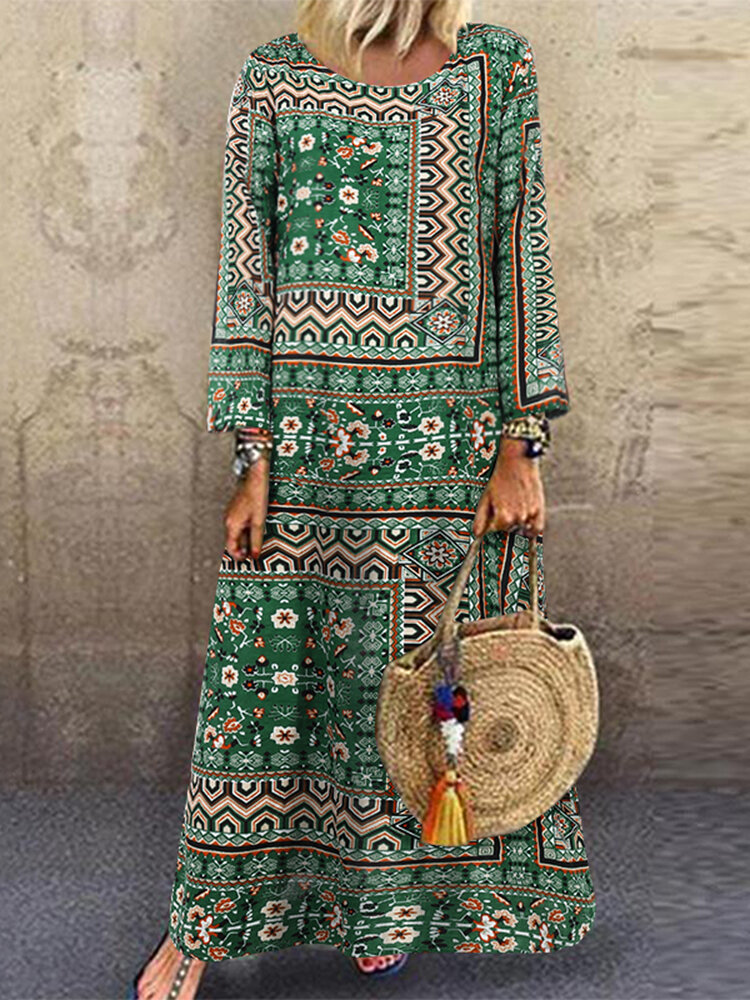 Best Ethnic Print O-neck Long Sleeve Plus Size Maxi Dress You Can Buy