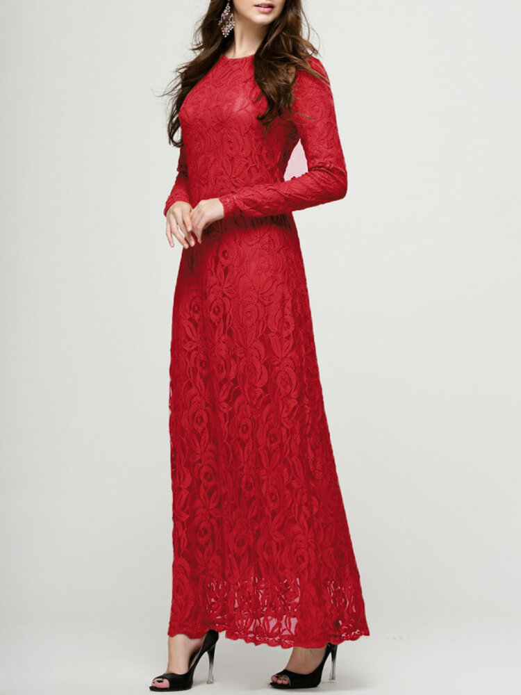 Best Lace Double-layer Long Sleeve O-neck Maxi Dress You Can Buy