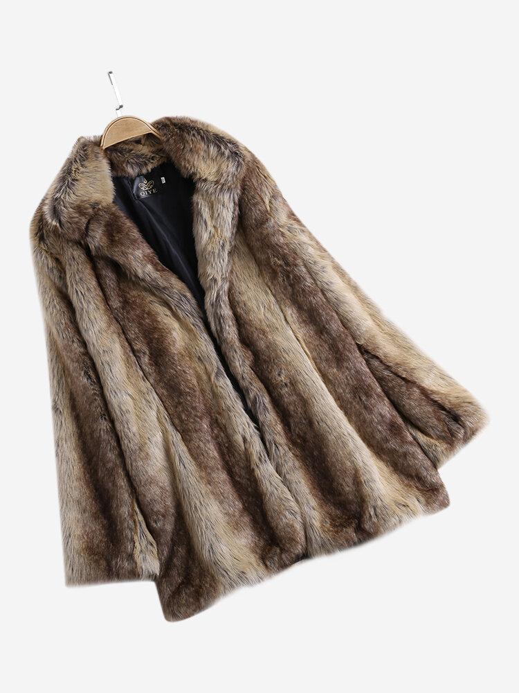 Best Faux Fur Slim Turn-down Collar Long Coats You Can Buy