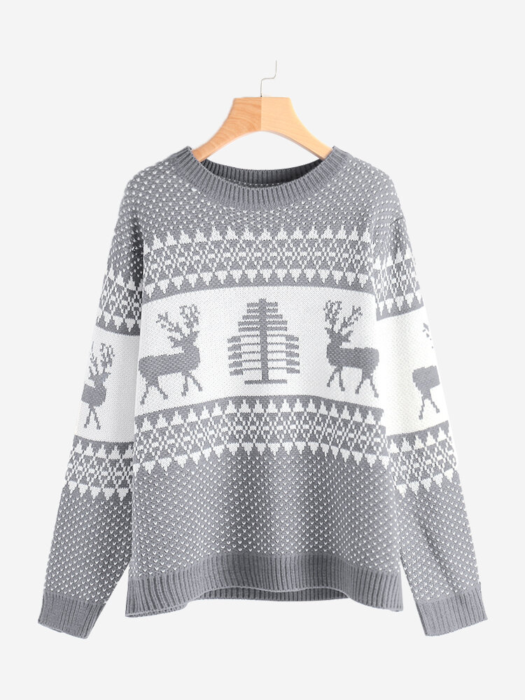 Best Woven Elk Pattern Crew Neck Sweaters You Can Buy