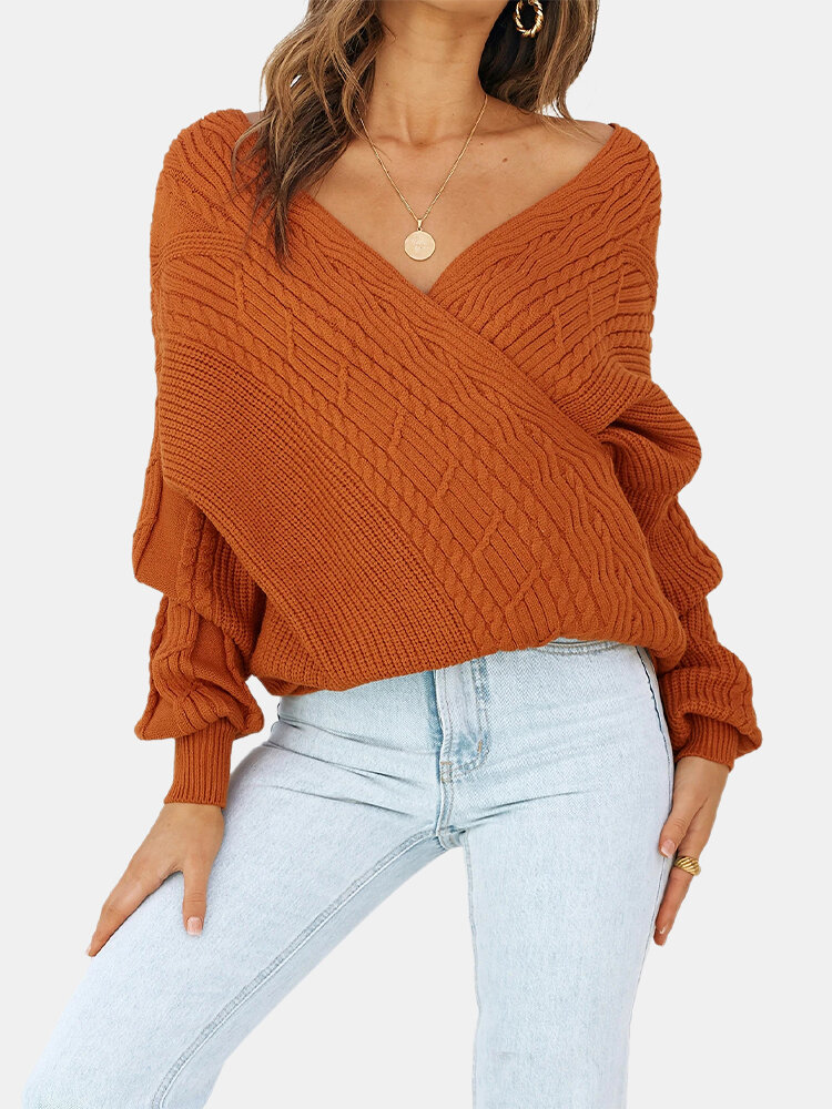 Best Solid Color V-neck Long Sleeve Sweater You Can Buy
