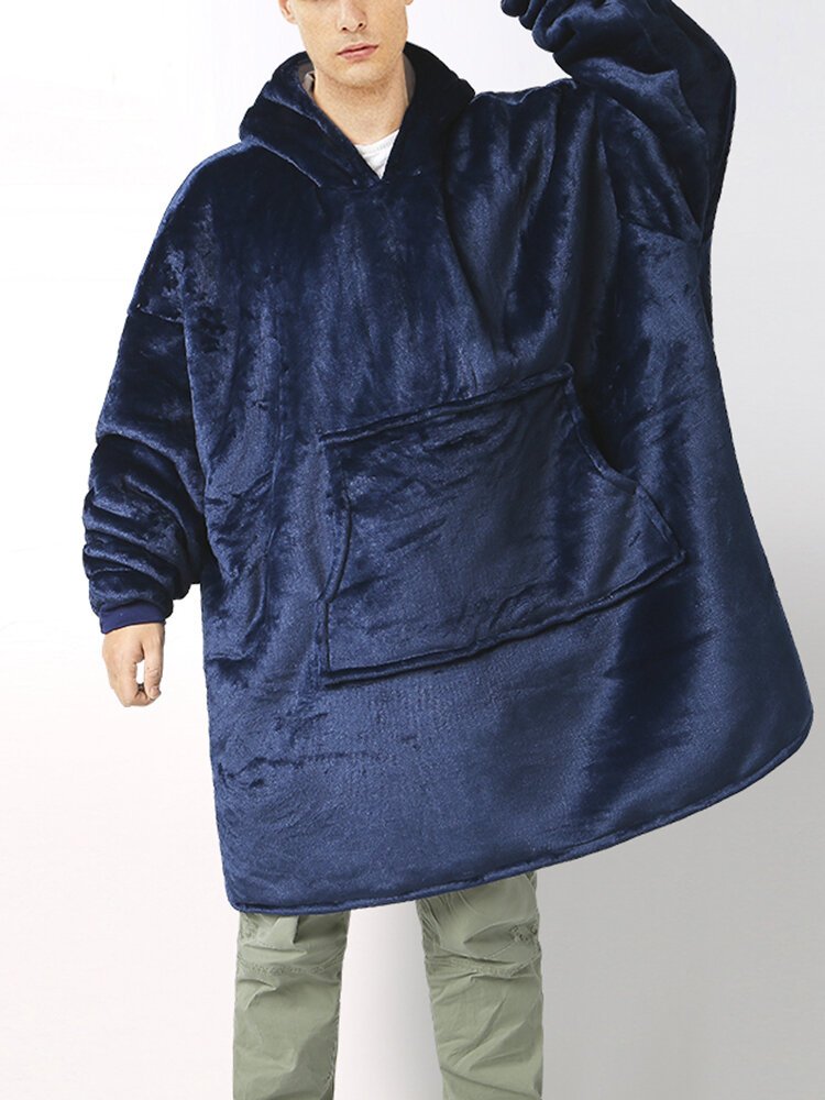 Best Men Flannel Thicken Warm Oversized Hoodie Blanket Home With Kangaroo Pocket You Can Buy