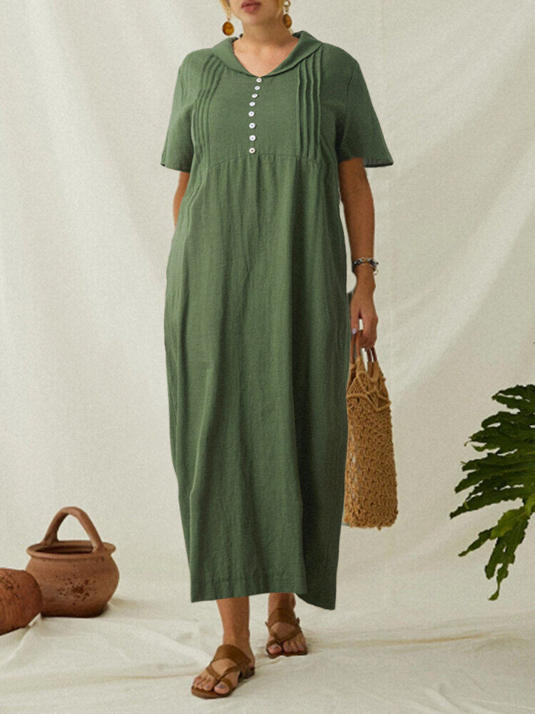 Best Pleated Turtleneck Solid Color Plus Size Maxi Dress You Can Buy