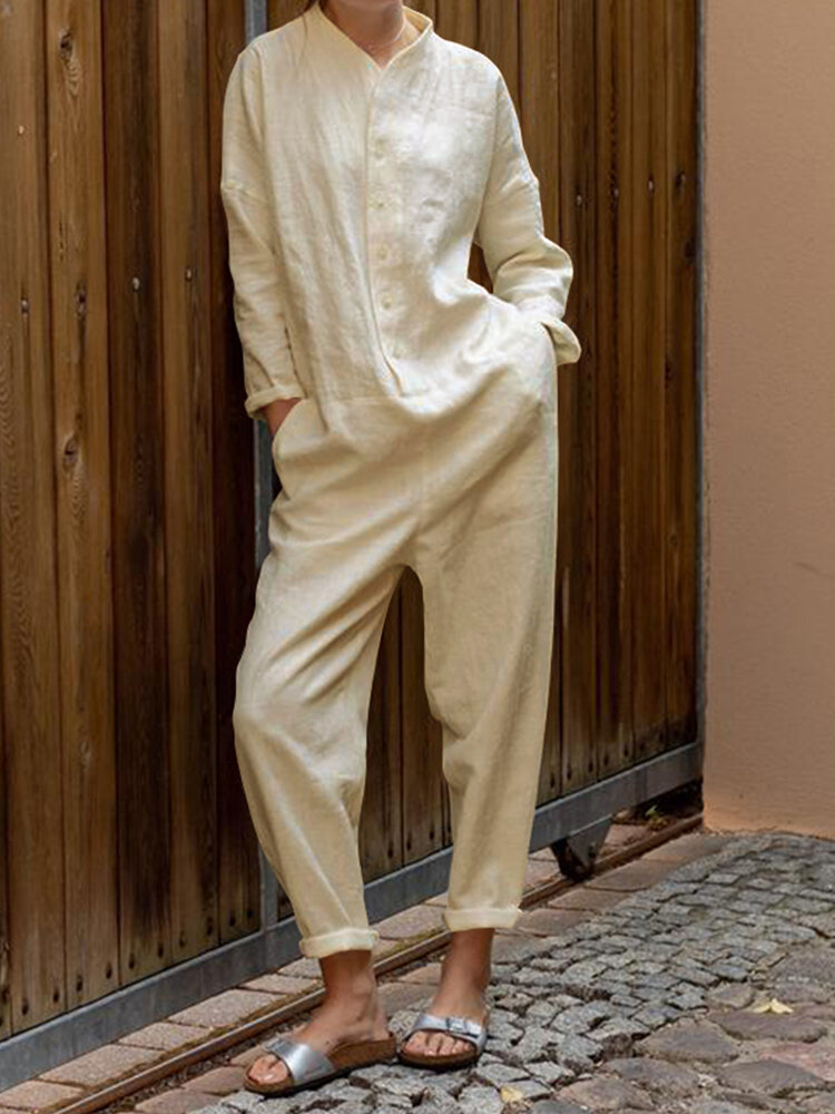 Best Solid Color Long Sleeves Button Casual Jumpsuit You Can Buy