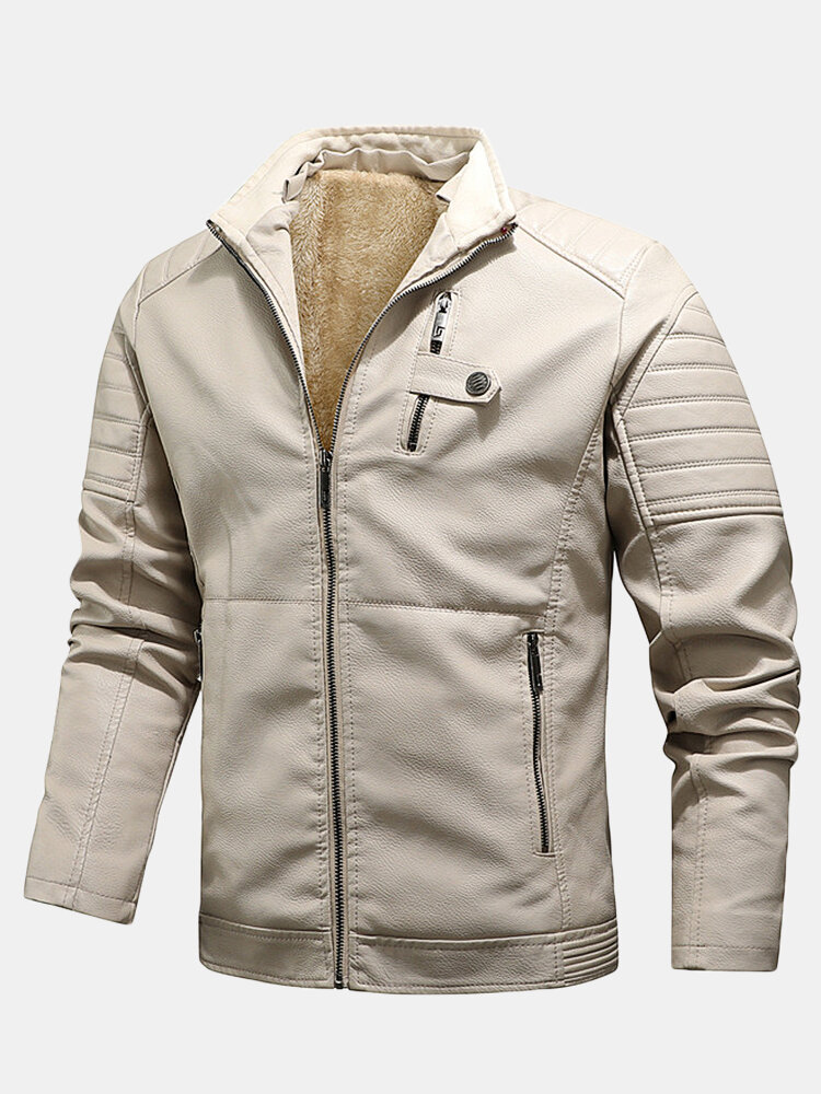 Best Mens PU Leather Zip Front Thicken Jackets With Zipped Welt Pockets You Can Buy