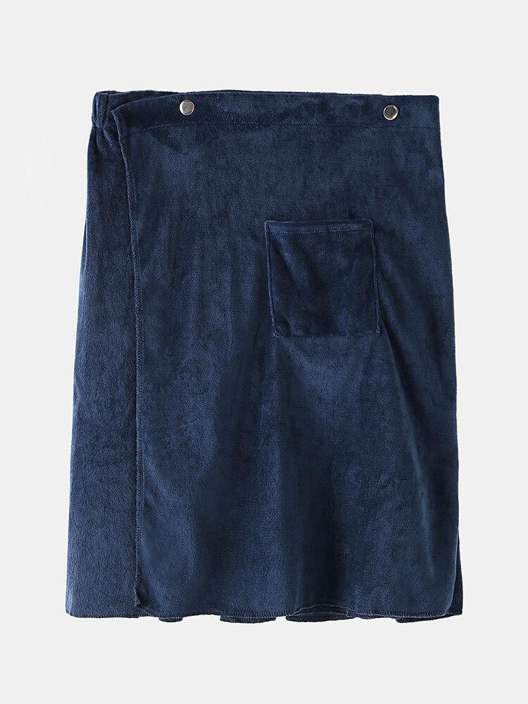 Best Men Bathrobe Adjustable Beach Towels Homewear Button Loungewear With Pocket You Can Buy