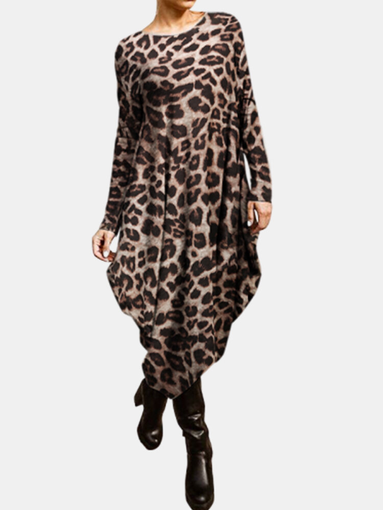 Best Leopard Print Long Sleeves O-neck Casual Dress You Can Buy