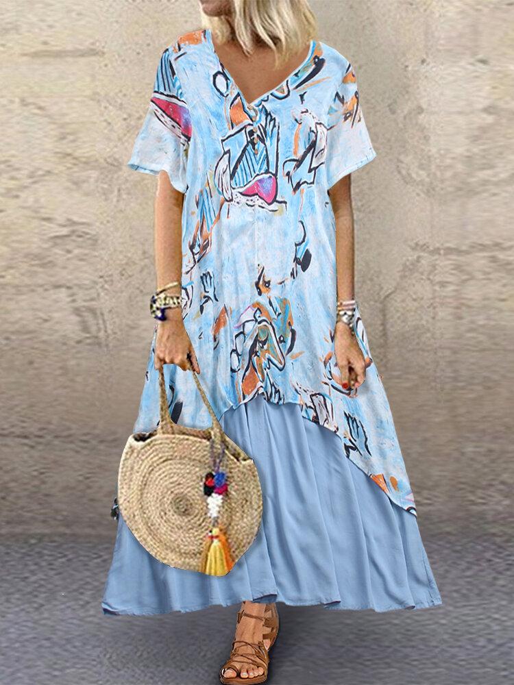 Best Graffiti Print Patchwork Short Sleeve Plus Size Maxi Dress You Can Buy