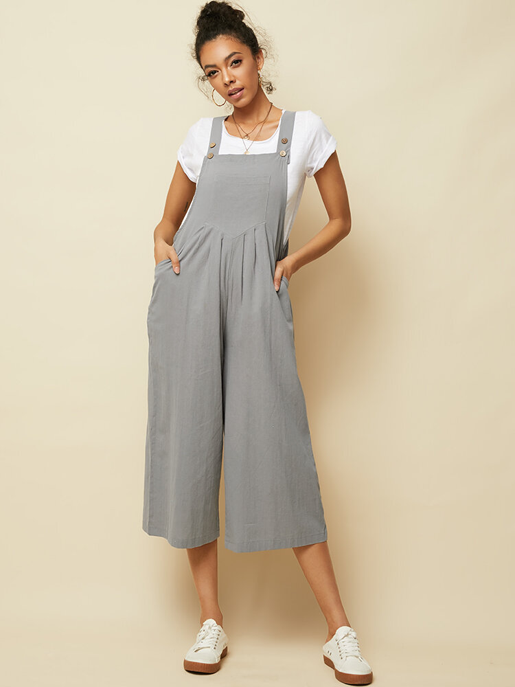 Best Button Solid Color Straps Cotton Plus Size Jumpsuit with Pockets You Can Buy
