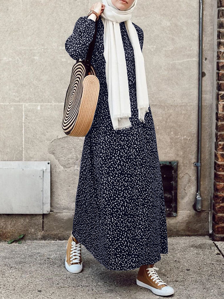 Best Bohenmia Print A-line Long Sleeve Casual Plus Size Dress You Can Buy