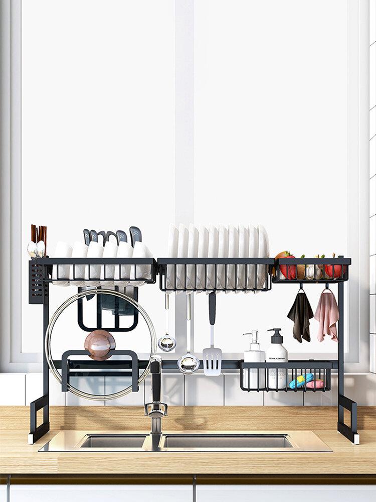 black stainless steel standing dish rack over sink dish drying rack kitchen supplies storage shelf tableware drainer organizer display shelf