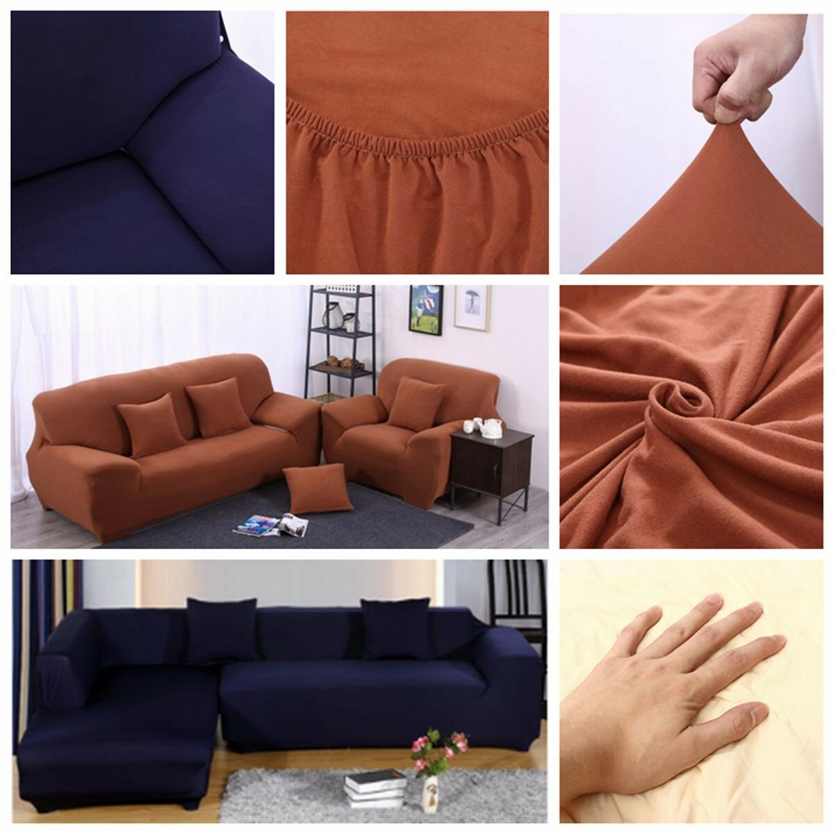 L Shape 3 Seat Stretch Elastic Fabric Sofa Cover Pet Dog Slipcovefurniture Protector