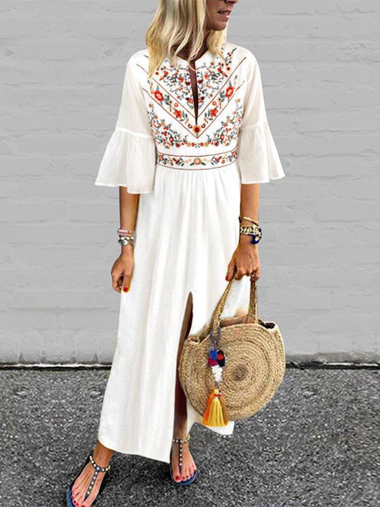 Best Bohemian Print Ruffle Half Sleeve Loose Plus Size Dress You Can Buy