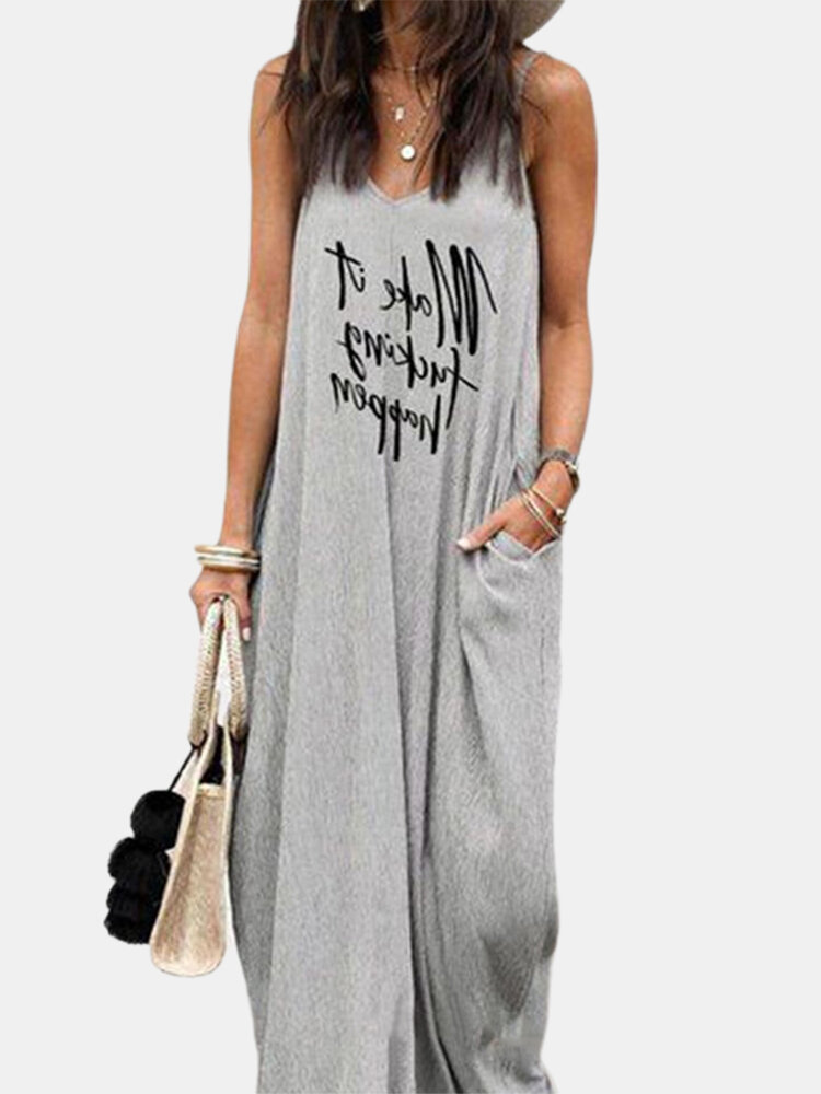 Best Letter Print Spaghetti Straps V-neck Casual Plus Size Dress You Can Buy