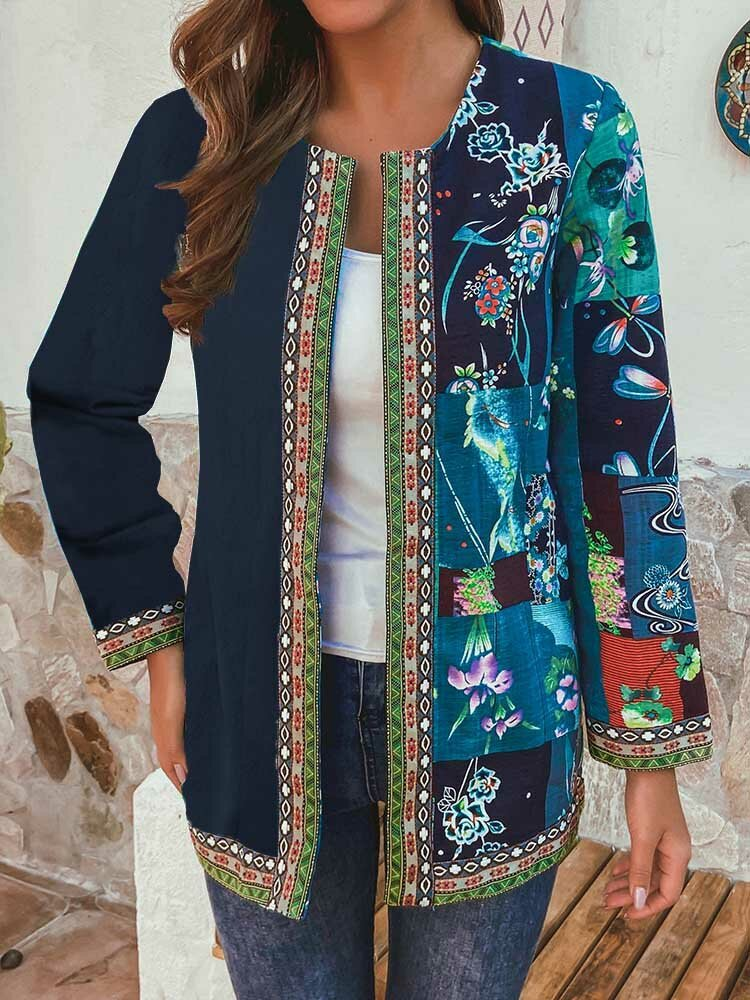 Best Flowers Print Patchwork Webing Long Sleeve Plus Size Jackets You Can Buy