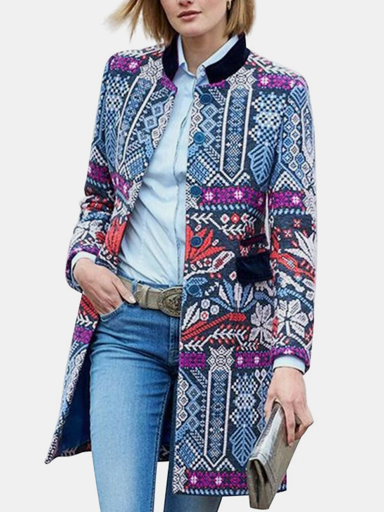 Best Ethnic Print Stand Collar Long Sleeve Vintage Jacket For Women You Can Buy