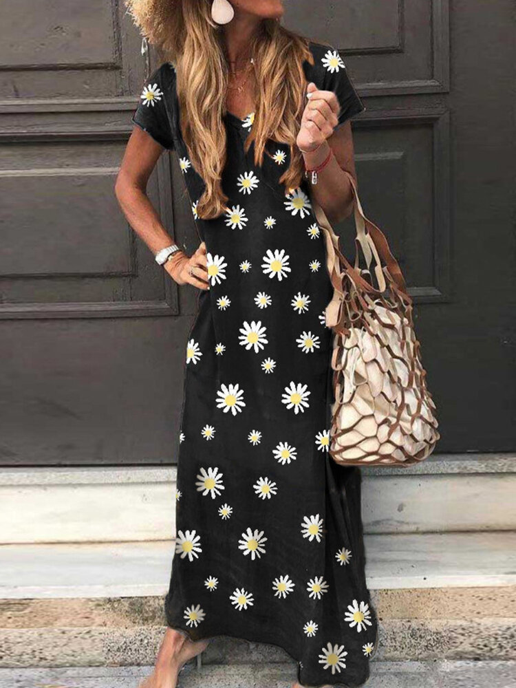 Best Daisy Flower Printed Short Sleeve V-neck Maxi Dress You Can Buy