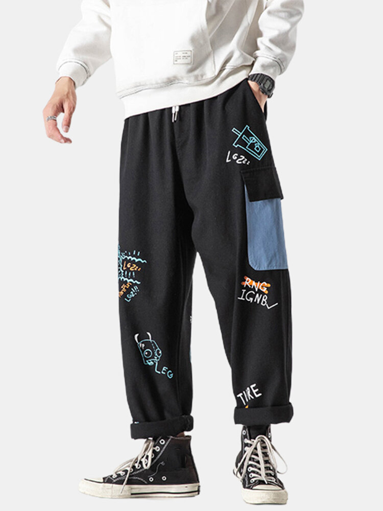 Best Mens Graffiti Letter Print Casual Loose Drawstring Cargo Pants With Multi Pockets You Can Buy
