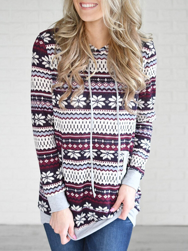 Best Ethnic Print Causal Long Sleeve Hooded Plus Size Sweatwhirt You Can Buy