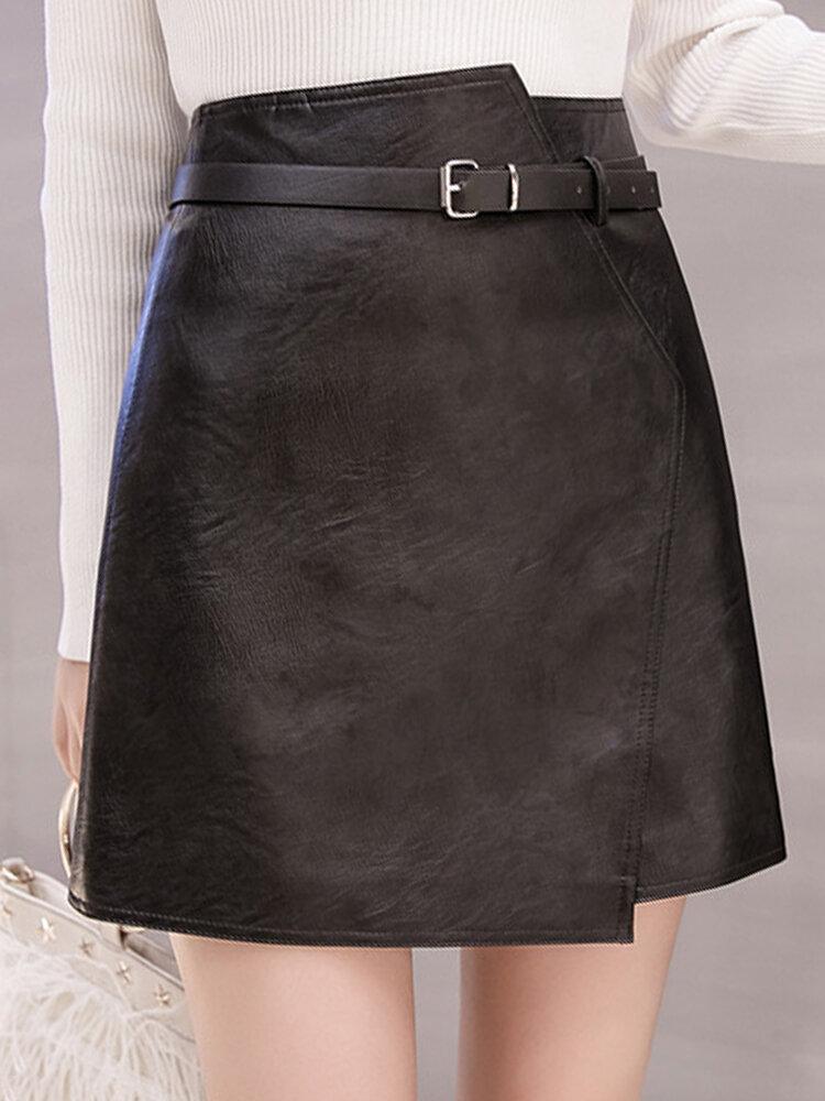 Best Pu Leather Irregular High Waist Belt Skirt You Can Buy