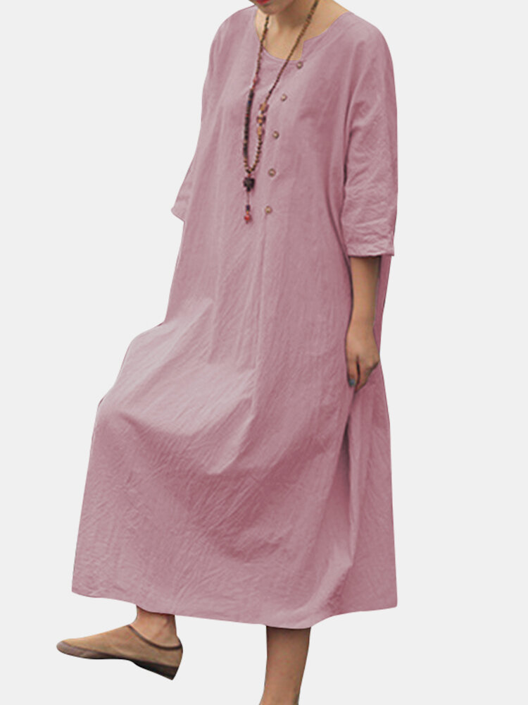Best Solid Color Half Sleeves Asymmetrical Collar Casual Button Dress You Can Buy