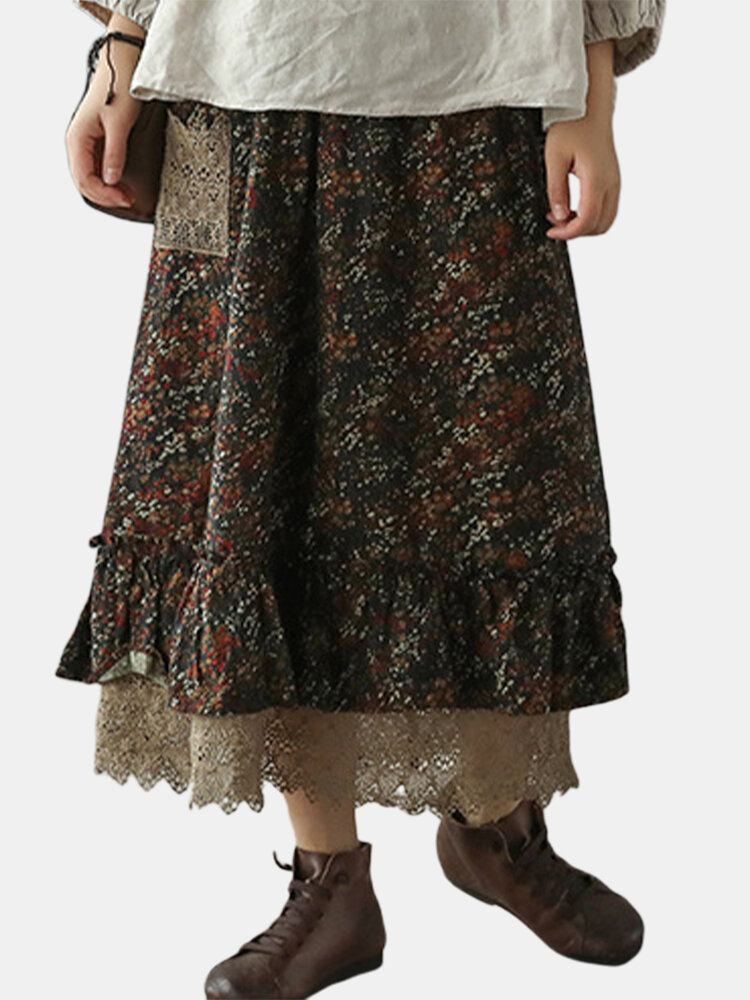 Best Vintage Floral Printed Two Layer Patchwork Lace Skirt With Pocket You Can Buy