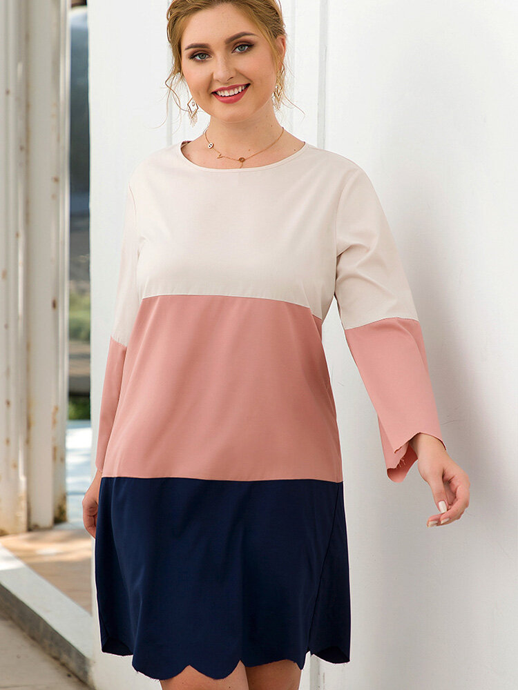 Best Casual Patchwork O-neck Plus Size Dress You Can Buy