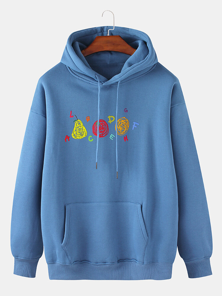 Best Mens Fruit Letter Print Cotton Flocking Drop Sleeve Pouch Pocket Drawstring Hoodies You Can Buy