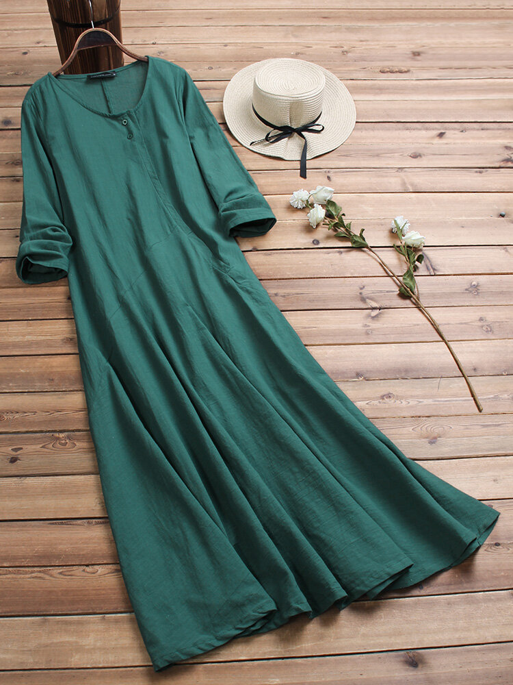 Best Women Vintage Cotton Tunic Baggy Long Sleeve Maxi Dress You Can Buy