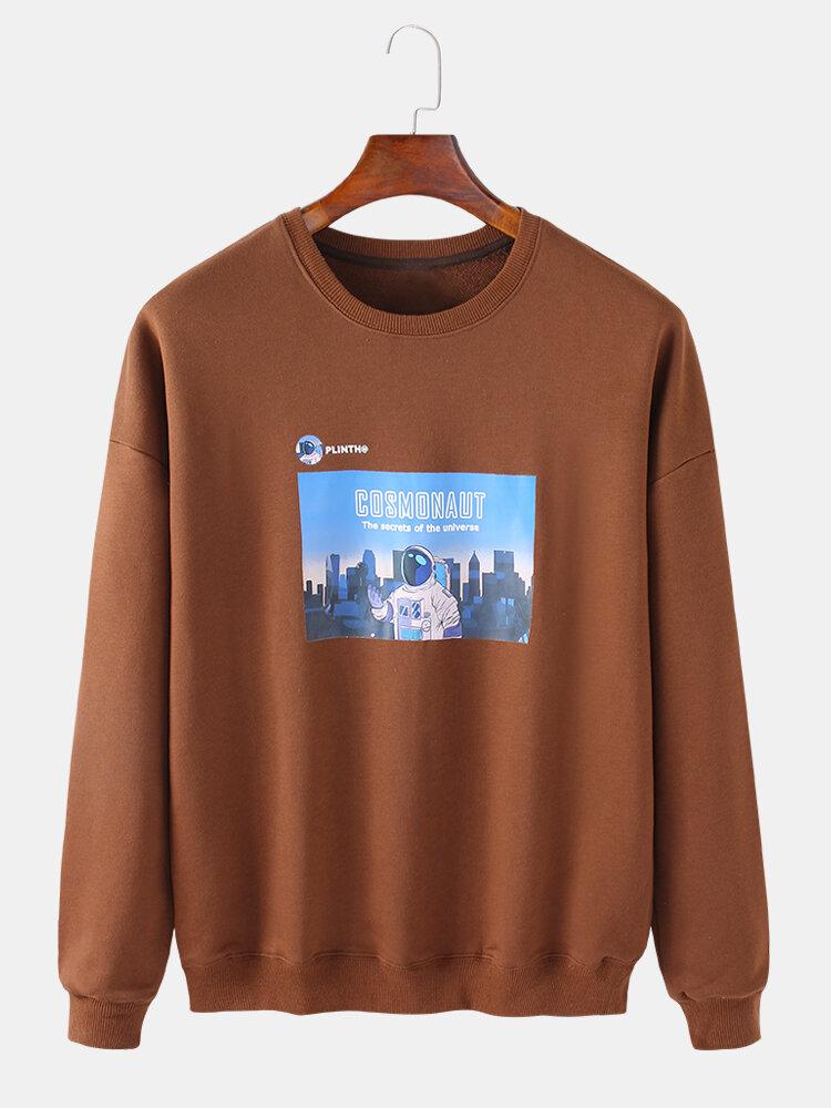 Best Mens Astronaut Graphic Box Print Cotton Crew Neck Loose Sweatshirt You Can Buy