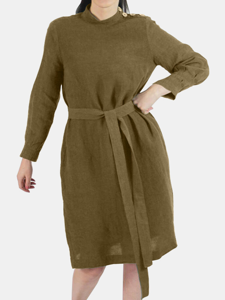 Best Casual Solid Color Button Long Sleeve Cotton Midi Dress With Belt You Can Buy