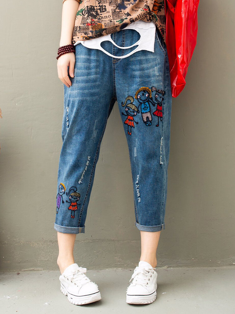 Best Casual Cartoon Figure Embroidered Ripped Elastic Jeans For Women You Can Buy