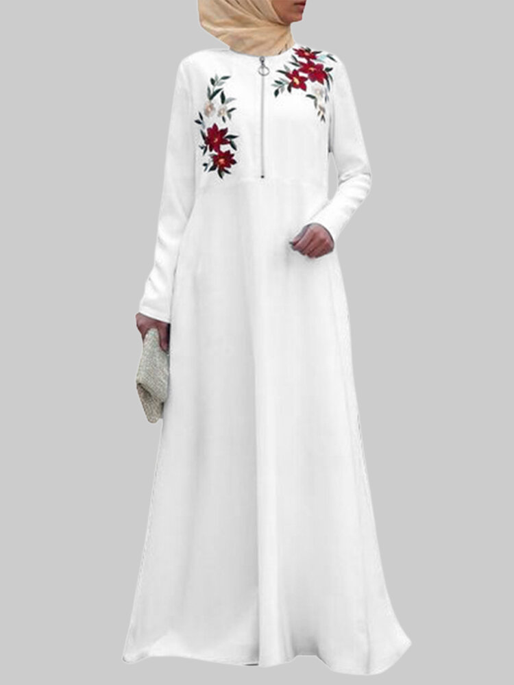Best Floral Embroidery Long Sleeve Zipper Maxi Muslim Dress You Can Buy