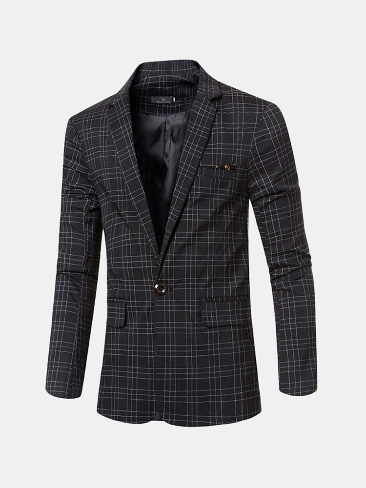 Best Business Casual Plaids Gentleman British Style Slim Blazers For Men You Can Buy