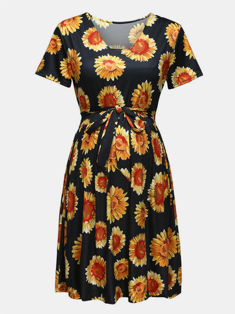 Best Maternity Sunflower Print Short Sleeves Lace-up Dress You Can Buy