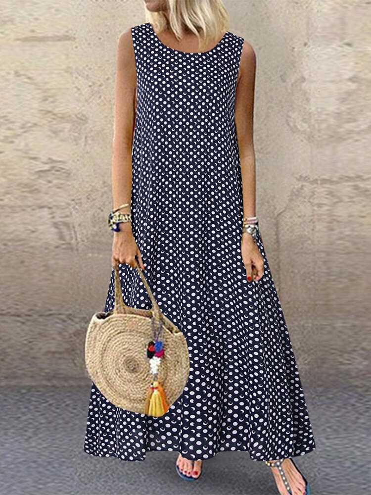 Best Casual Polka Dot Print Sleeveless Plus Size Dress with Pockets You Can Buy