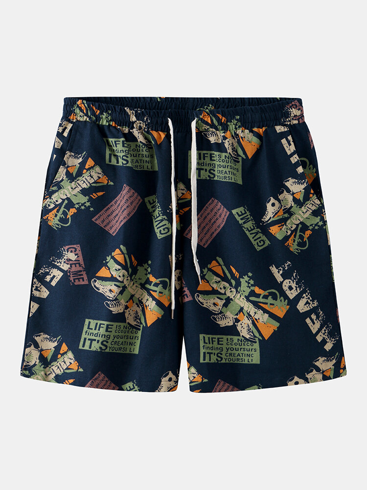 Best Mens Shoe & Character Pattern Print Summer Breathable Drawstring Shorts You Can Buy