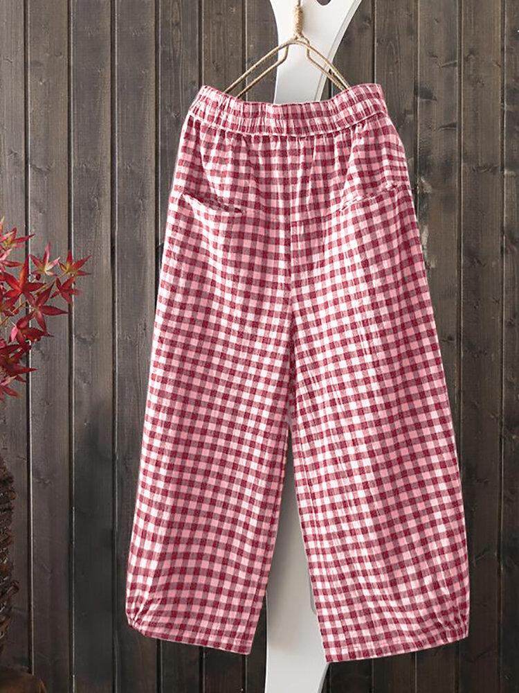 Best Vintage Plaid Elastic Waist Pockets Loose Pants You Can Buy