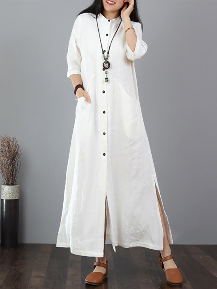 Best Vintage Solid Color Button Split Plus Size Maxi Dress You Can Buy