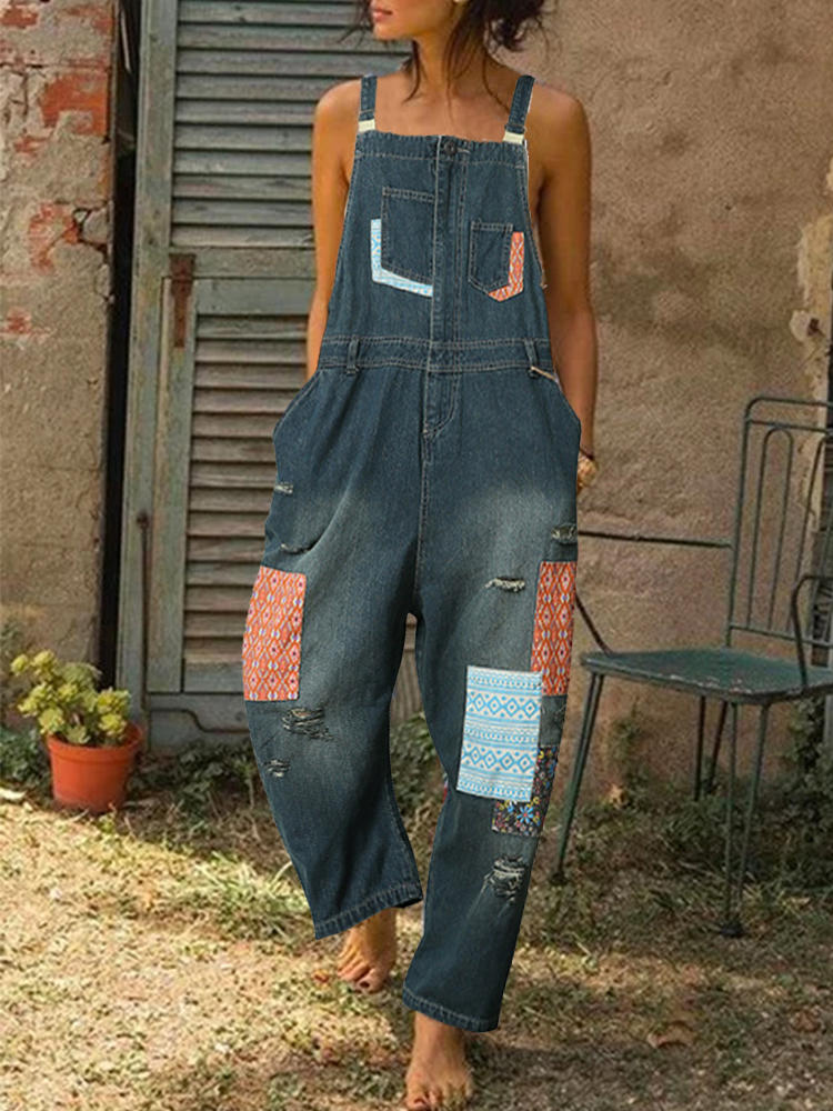 Best Print Patchwork Straps Ripped Denim Jumpsuit For Women You Can Buy