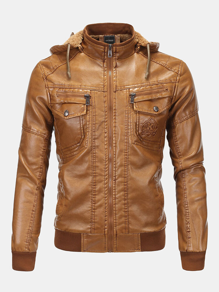 Best Mens Winter Warm Soild Color Long Sleeve Hooded PU Leather Zipper Jacket You Can Buy