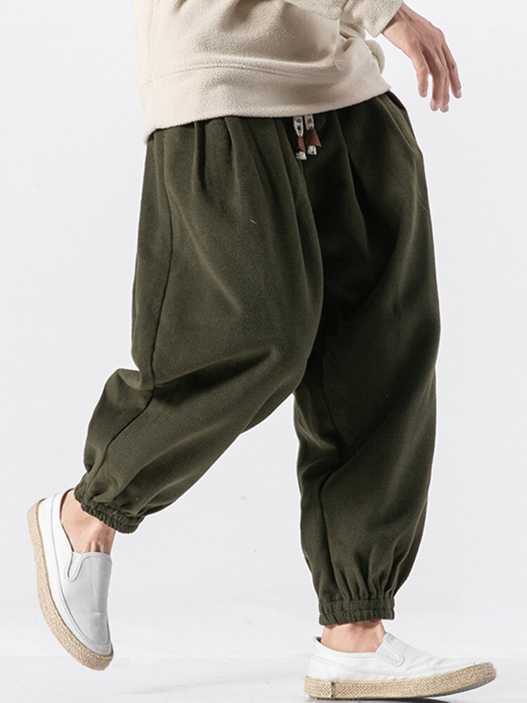 Best Mens Chinese Style Fleece Thicken Warm Elastic Waist Drawstring Loose Harem Pants You Can Buy