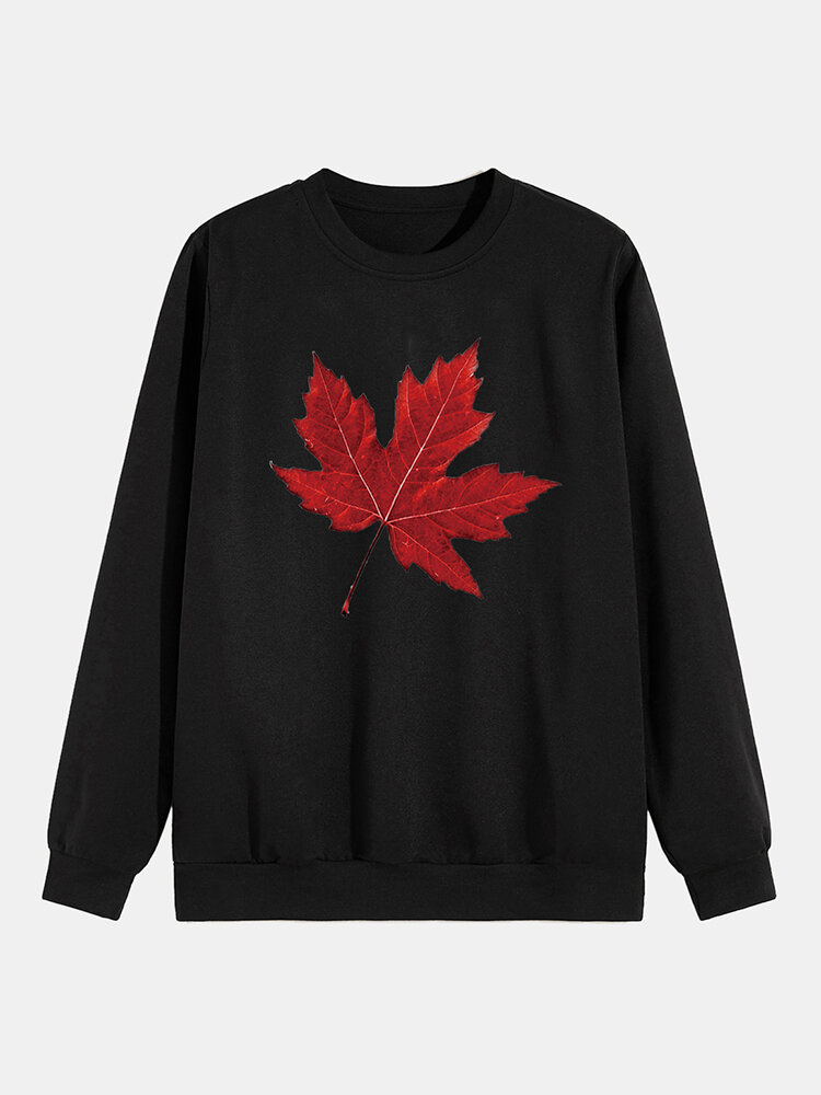 Best Mens Plain Style Solid Color Maple Leaf Print O-Neck Hoodies You Can Buy