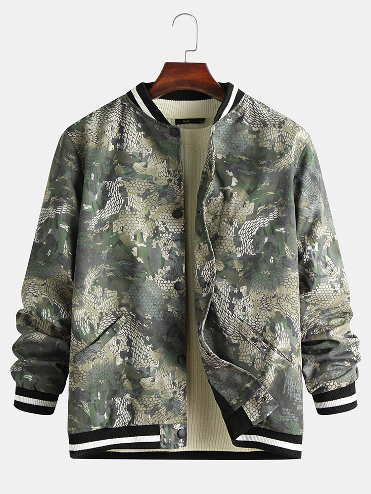 Best Mens Cool Snake Pattern Printed Baseball Collar Double Pockets Jacket You Can Buy