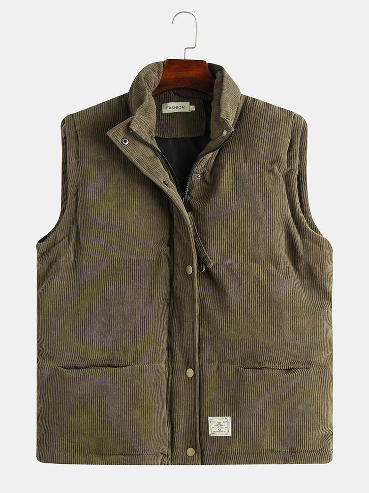 Best Mens Autumn Fashion Soild Color Sleeveless Single Breasted Corduroy Vest You Can Buy