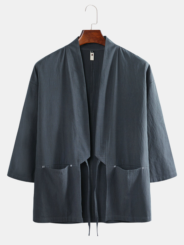 Best Mens Japanese Style Retro Linen Pockets Drawstring Tang Coat You Can Buy