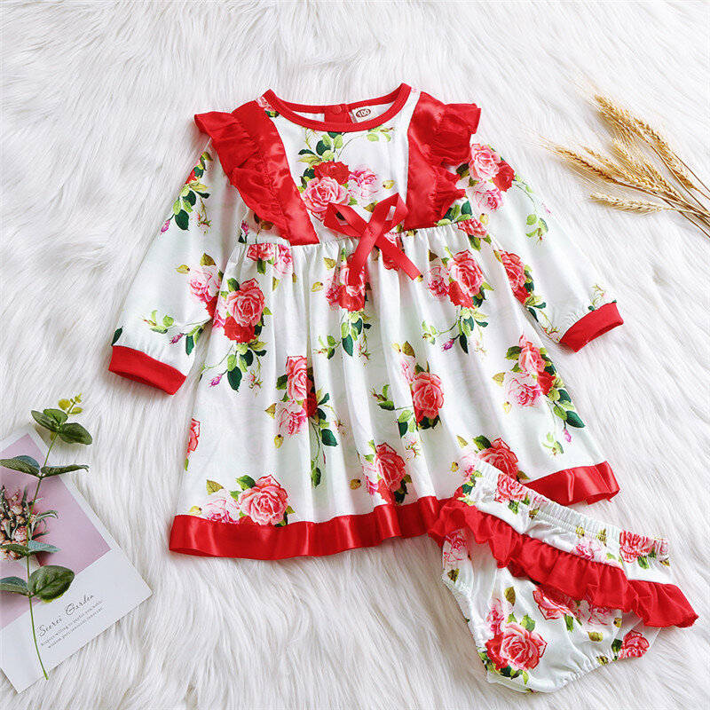 Best Baby Flower Bowknot Ruffle Long Sleeves Patchwork Casual Dress+Panties For 0-24M You Can Buy