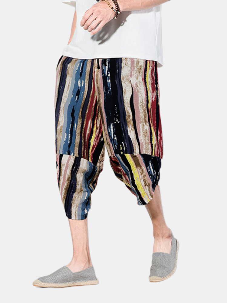 Best Men Color Striped Print Cropped Causal Pants You Can Buy