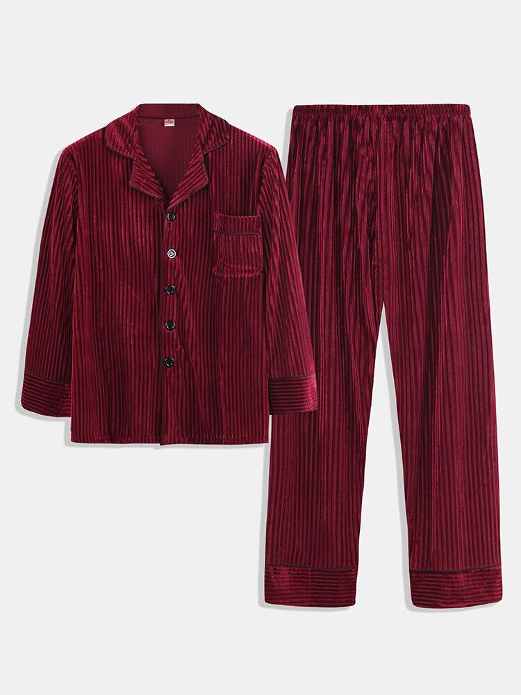 Best Men Gold Velvet Striped Pajamas Set Soft Breathable Buttons Down Plain Loungewear You Can Buy