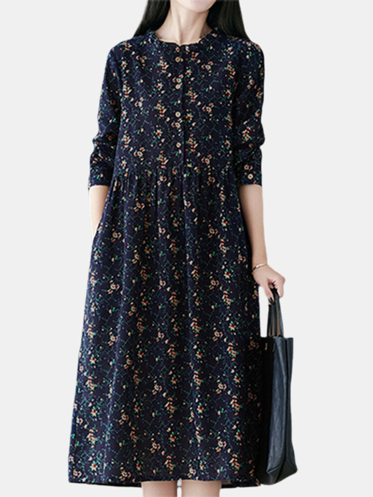 Best Vintage Floral Print Long Sleeve Cotton Casual Dress You Can Buy